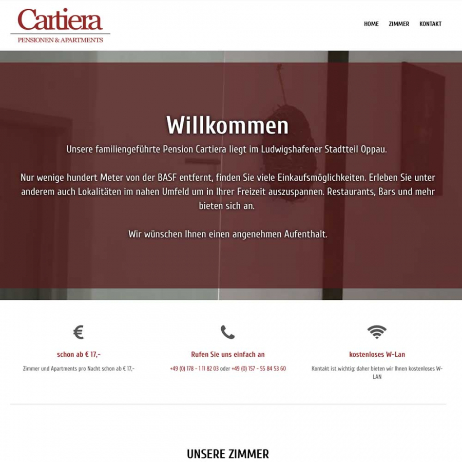 OnePager für Pension Cartiera